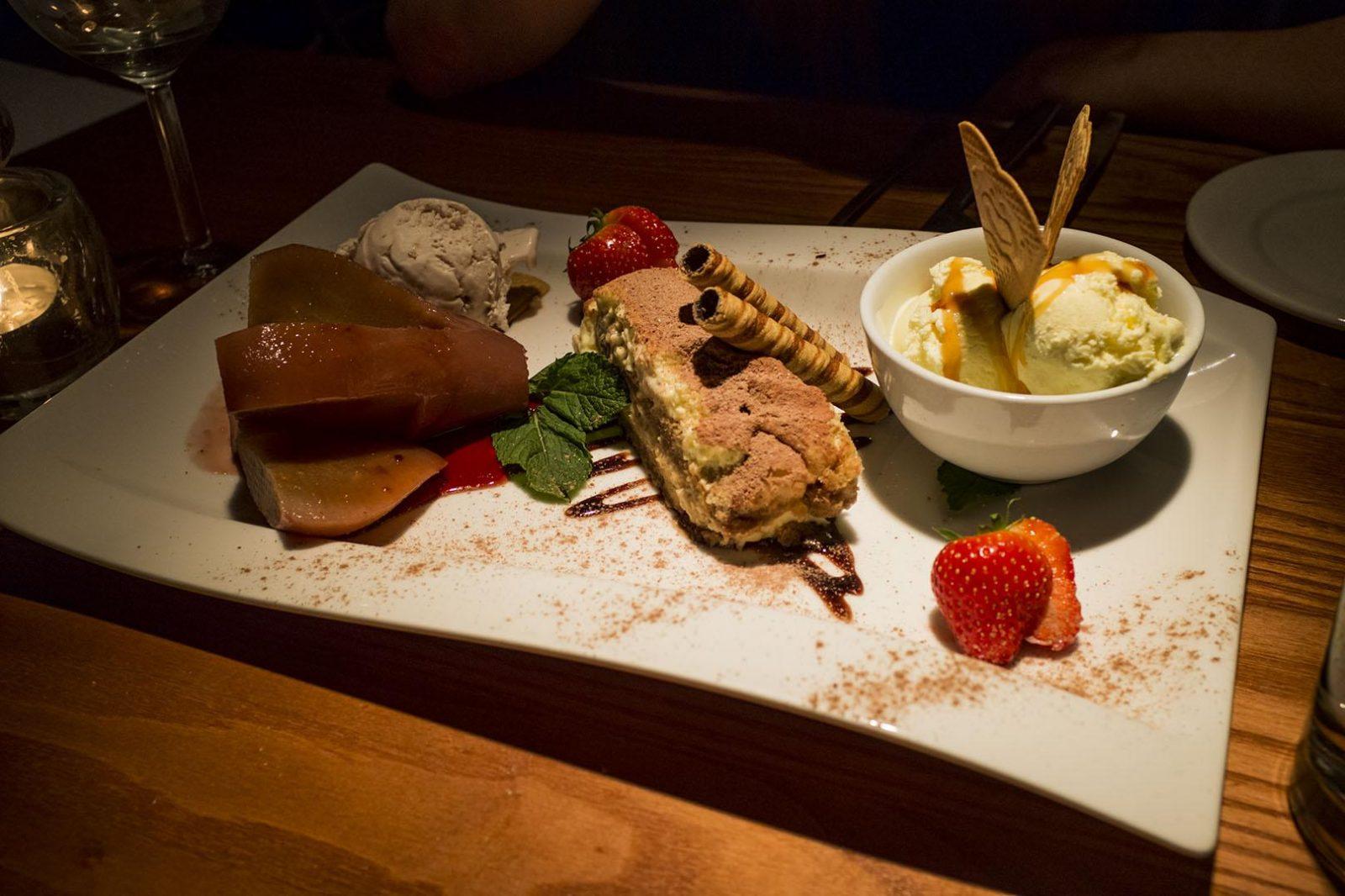 trio of desserts in cucino rustica