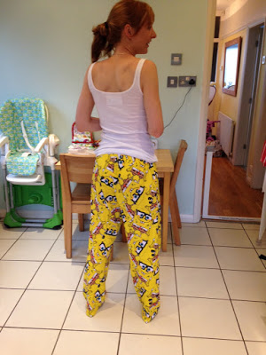Girl in spongebag trousers