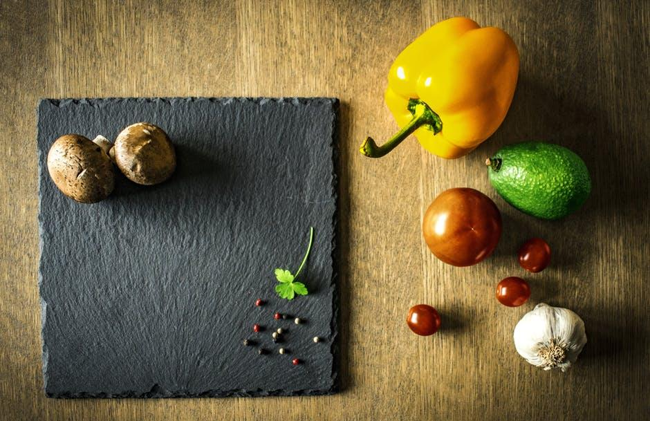 vegetables and chopping board