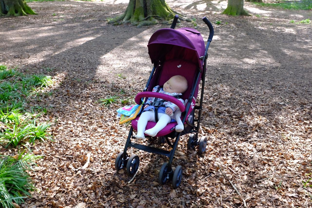 Sleeping baby in the Joie Nitro Stroller in mulberry
