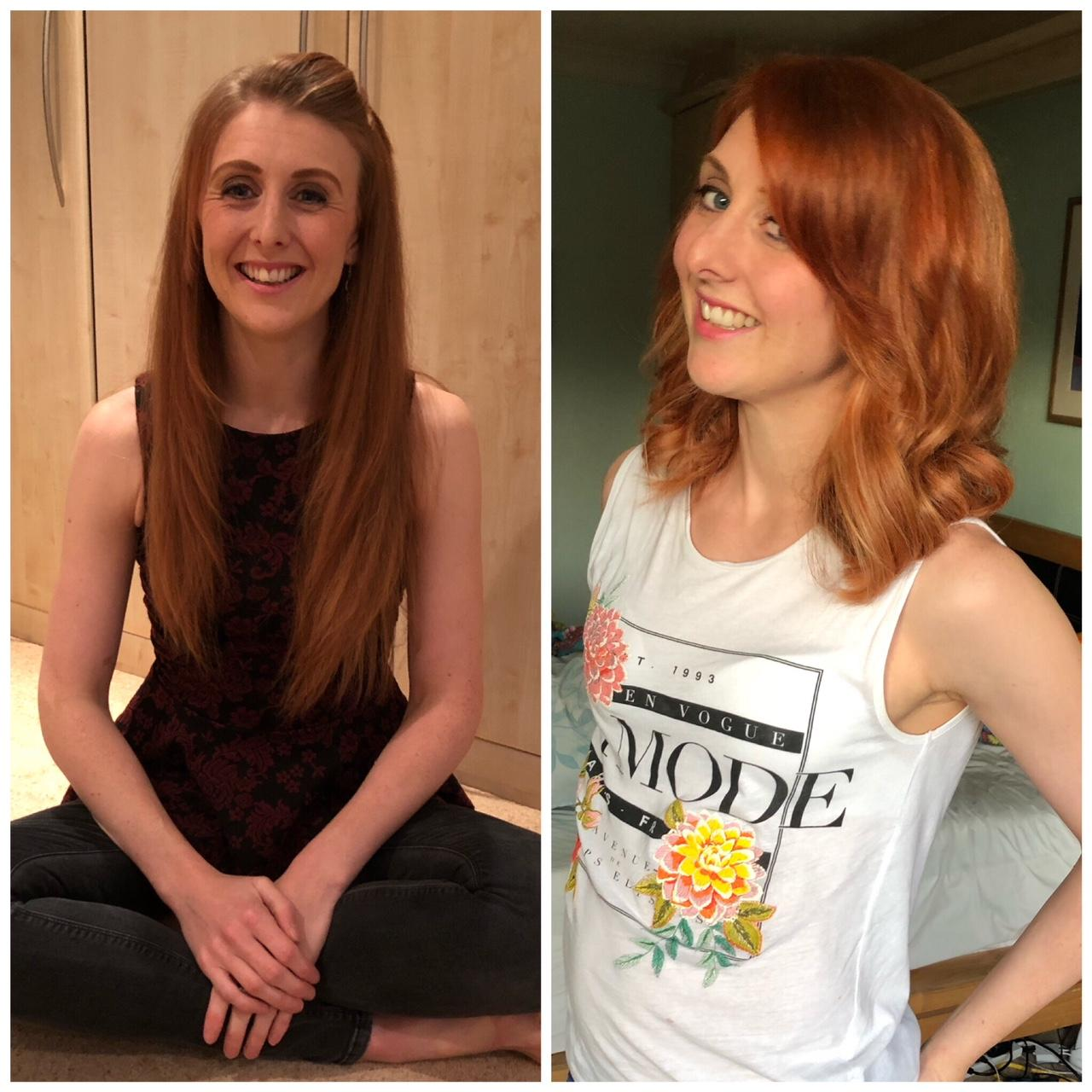 Redhead before and after haircut