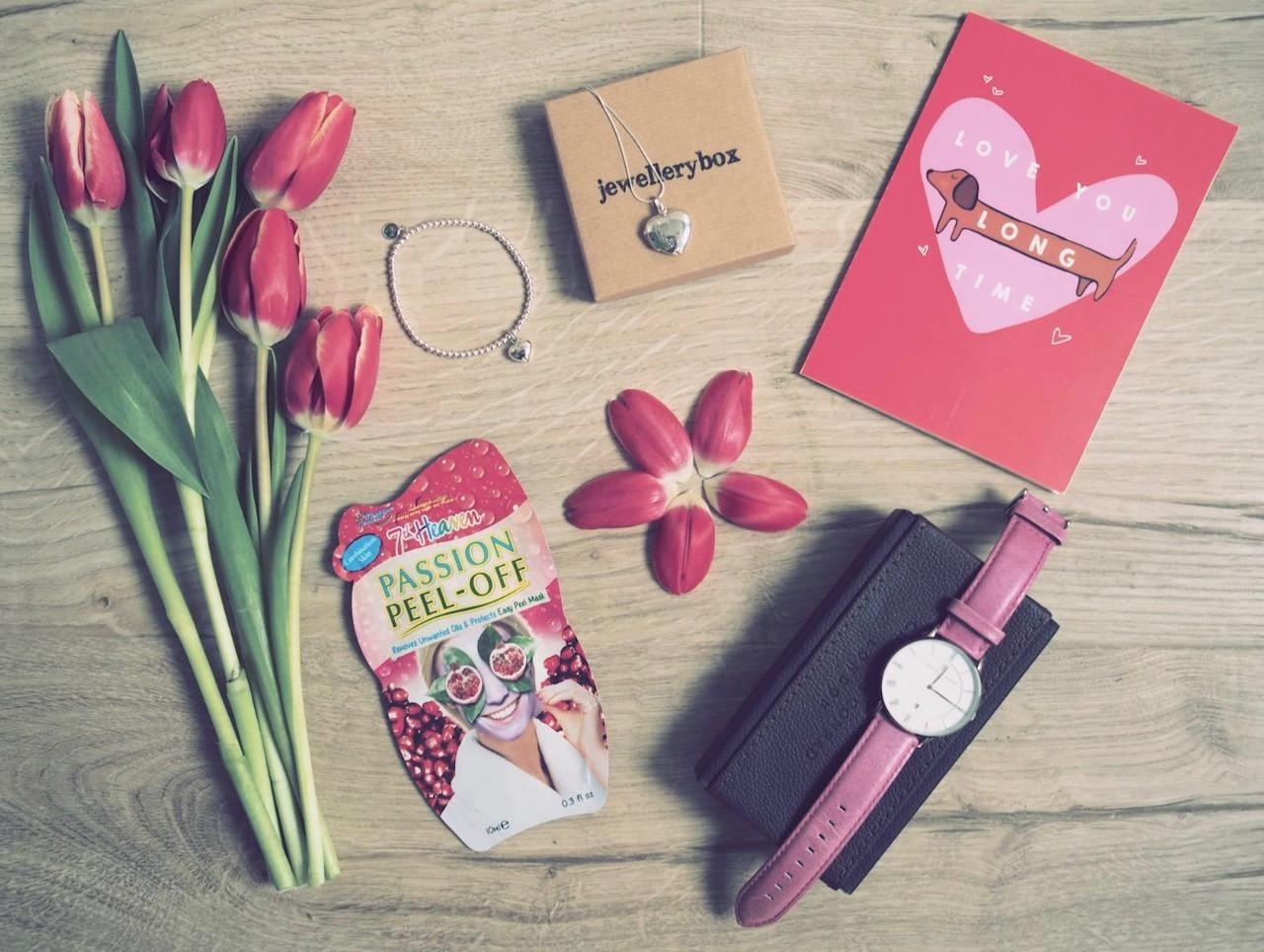 female valentine's day gifts flat lay