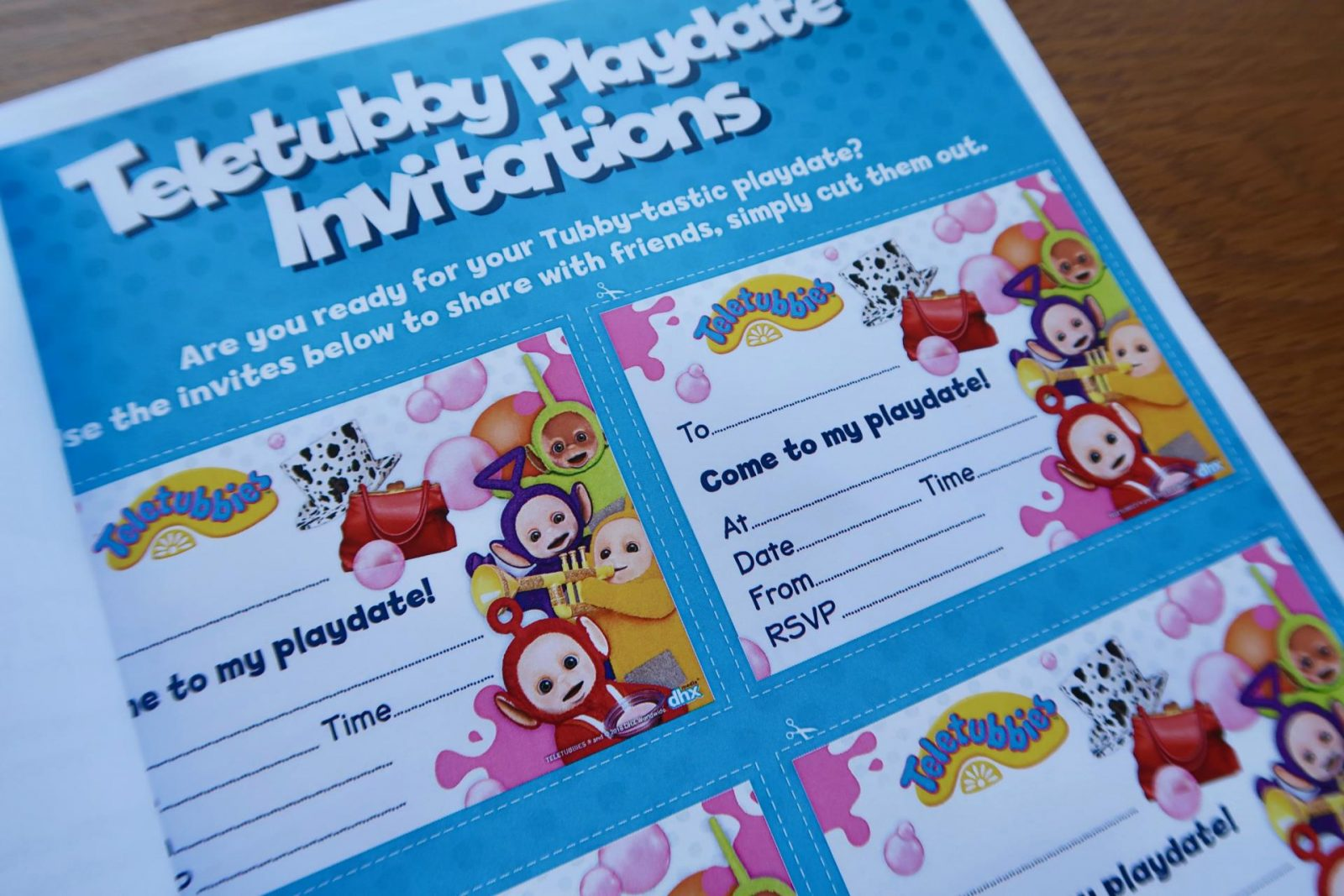 tellytubbies playdate invitations
