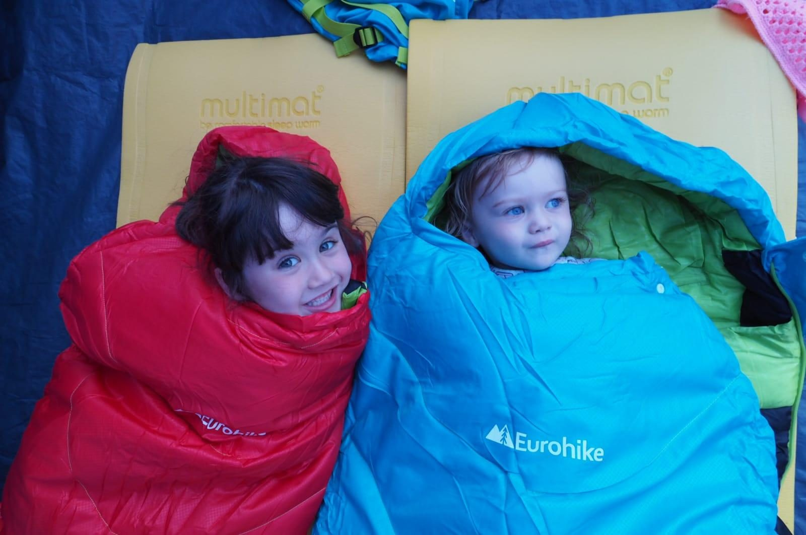 two children in eurohike sleeping bags
