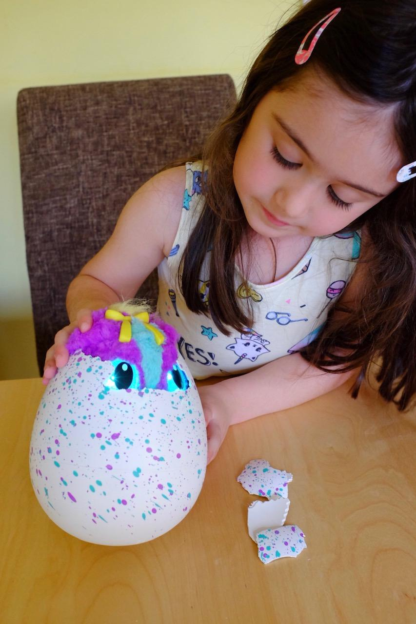 Girl helping to hatch Hatchimals HatchiBabies egg