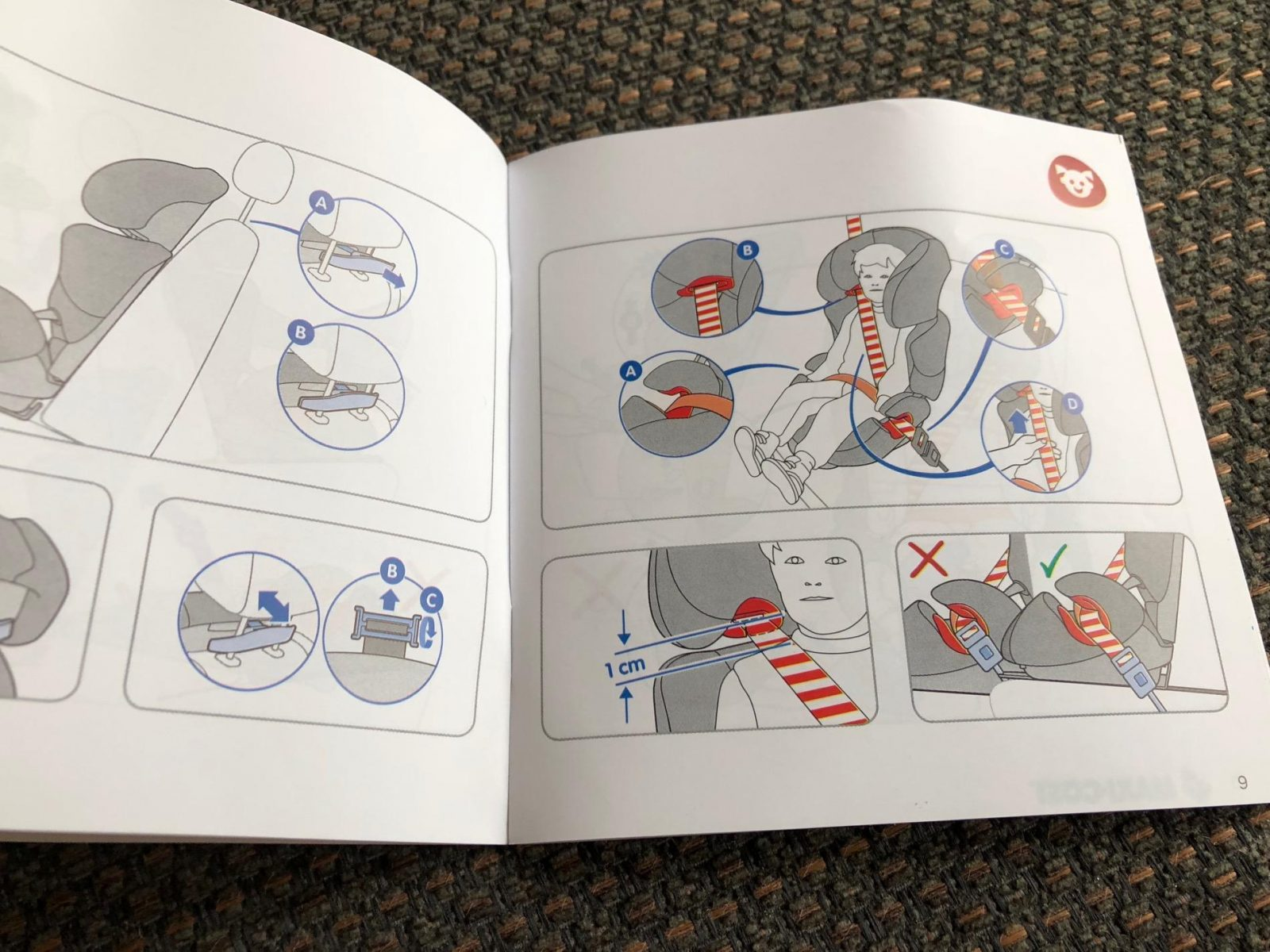 the maxi-cosi Rodi Air Protect car seat pictorial instructions