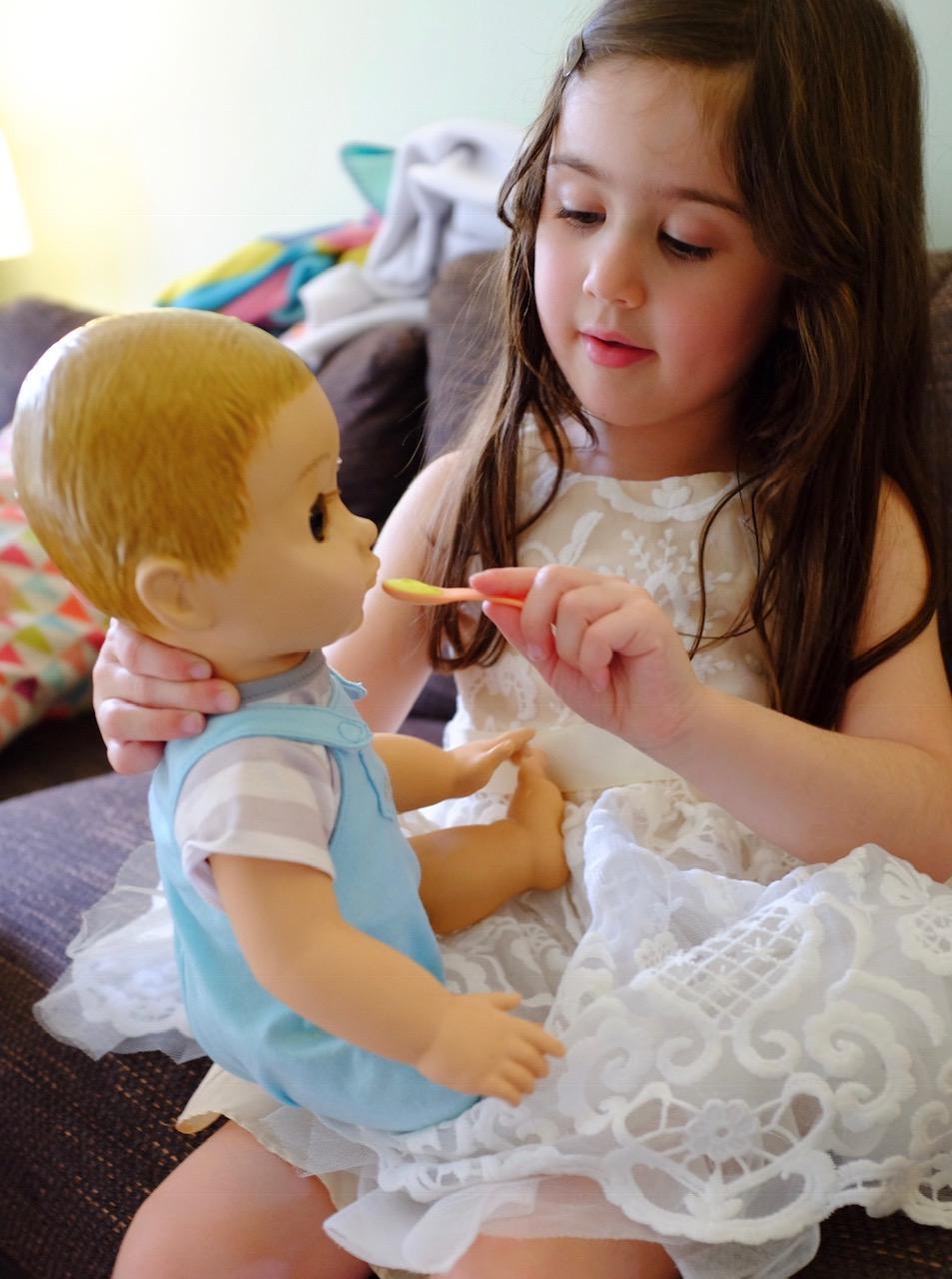 girl feeding Luvabeau