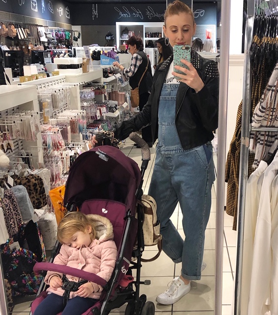 girl in asos maternity dungarees