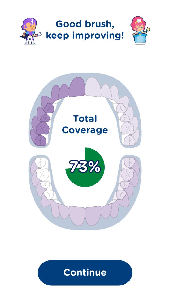 teeth brushing report from Playbrush
