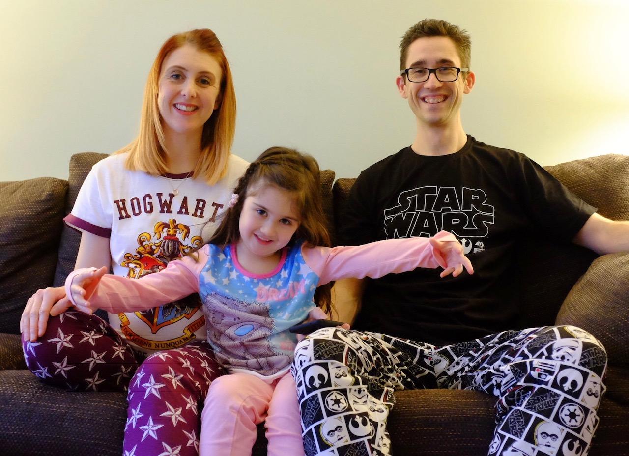 Mum, Dad and daughter wearing pyjamas from the pyjama factory