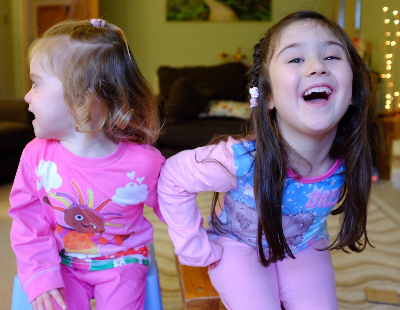 two sisters wearing pyjamas from the pyjama factory