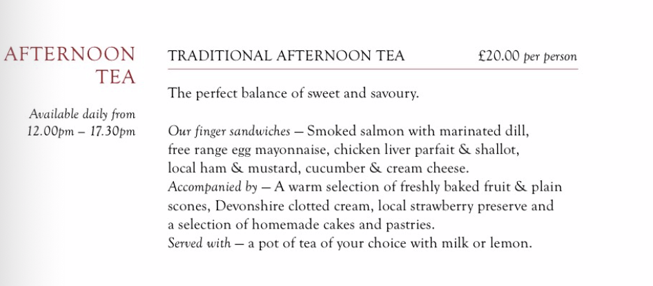 afternoon tea menu at Laura Ashley