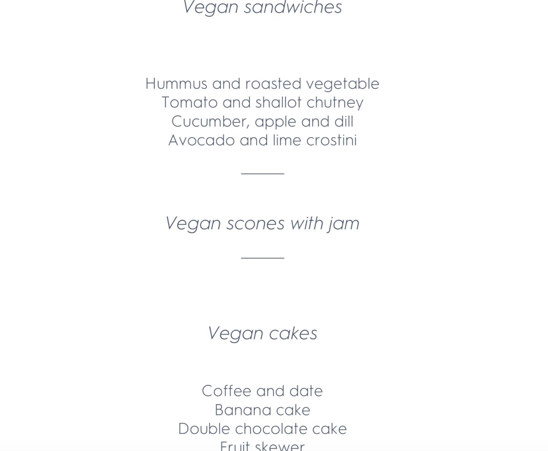 vegan afternoon tea menu at Laura Ashley