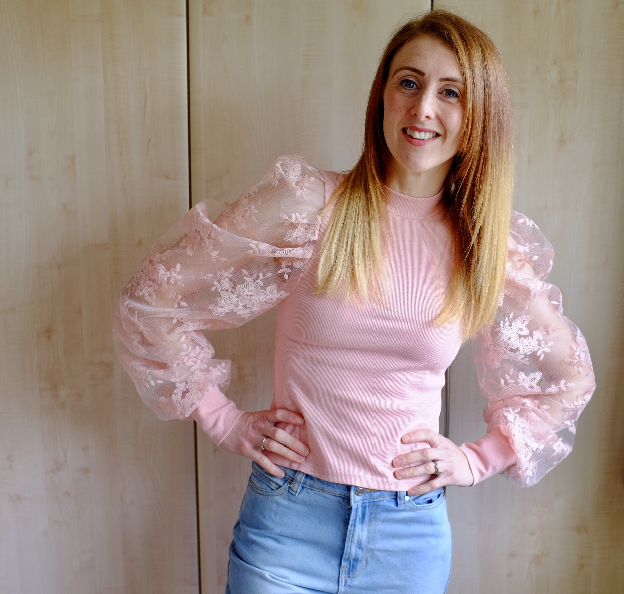 spring fashion - pink puffy sleeved top