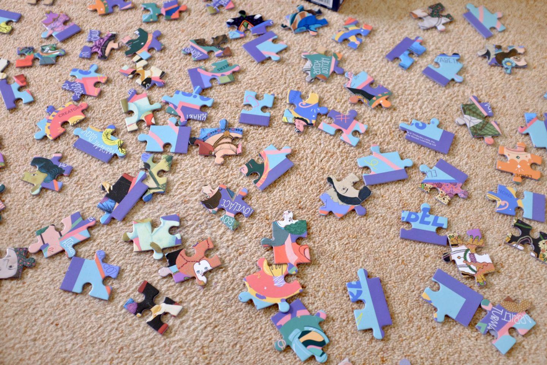 jigsaw pieces on the floor