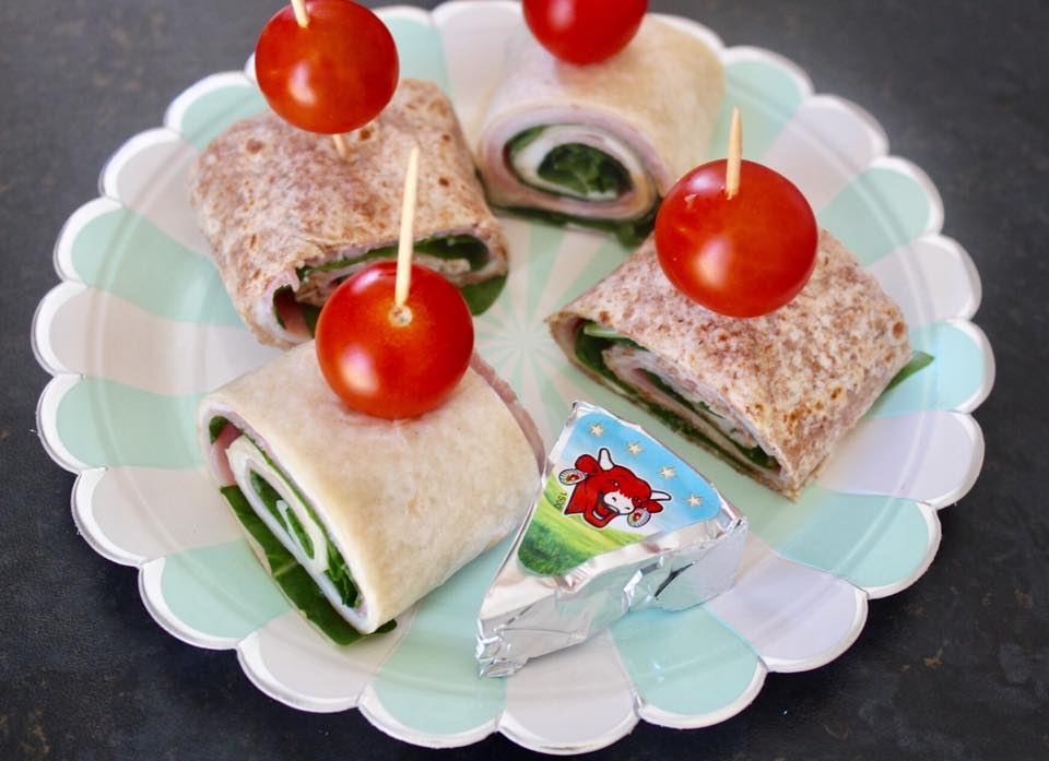 spinach and soft cheese rolls - healthy lunch time meal for kids