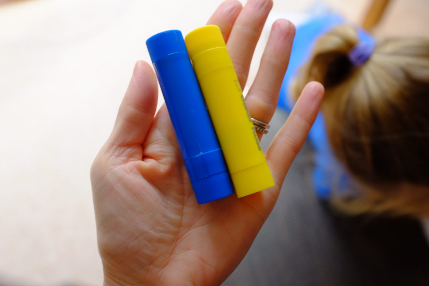 paint sticks blue and yellow