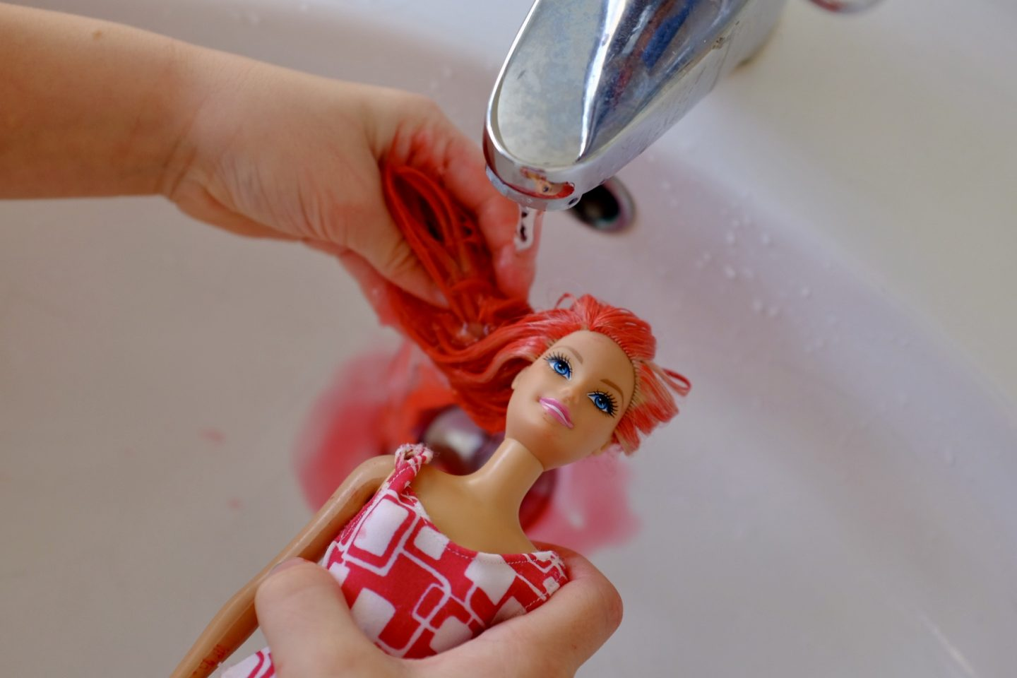 dye a barbie's hair and wash it out