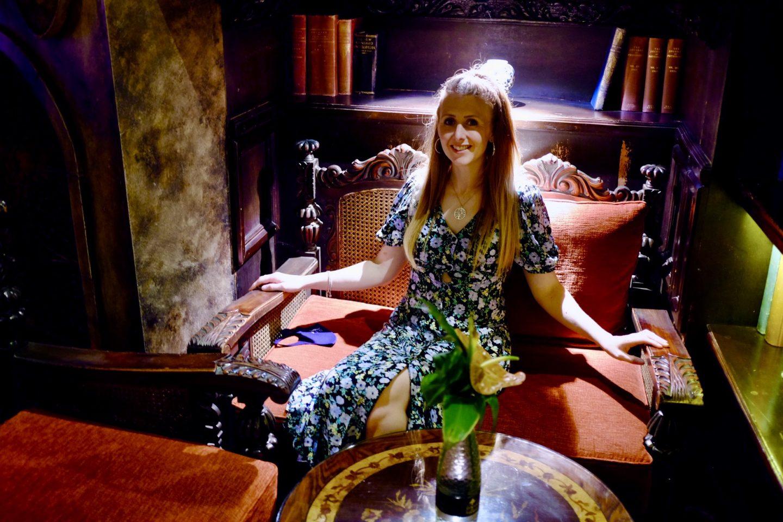 girl sat in Coombe abbey hotel