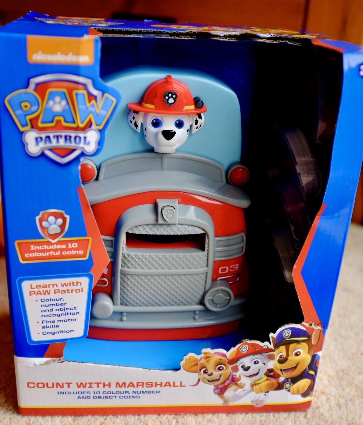Paw Patrol Count with Marshall in the box