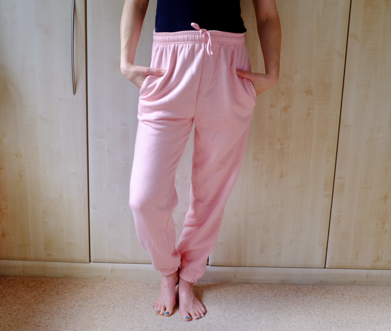 pink cuffed joggers from Femme luxe