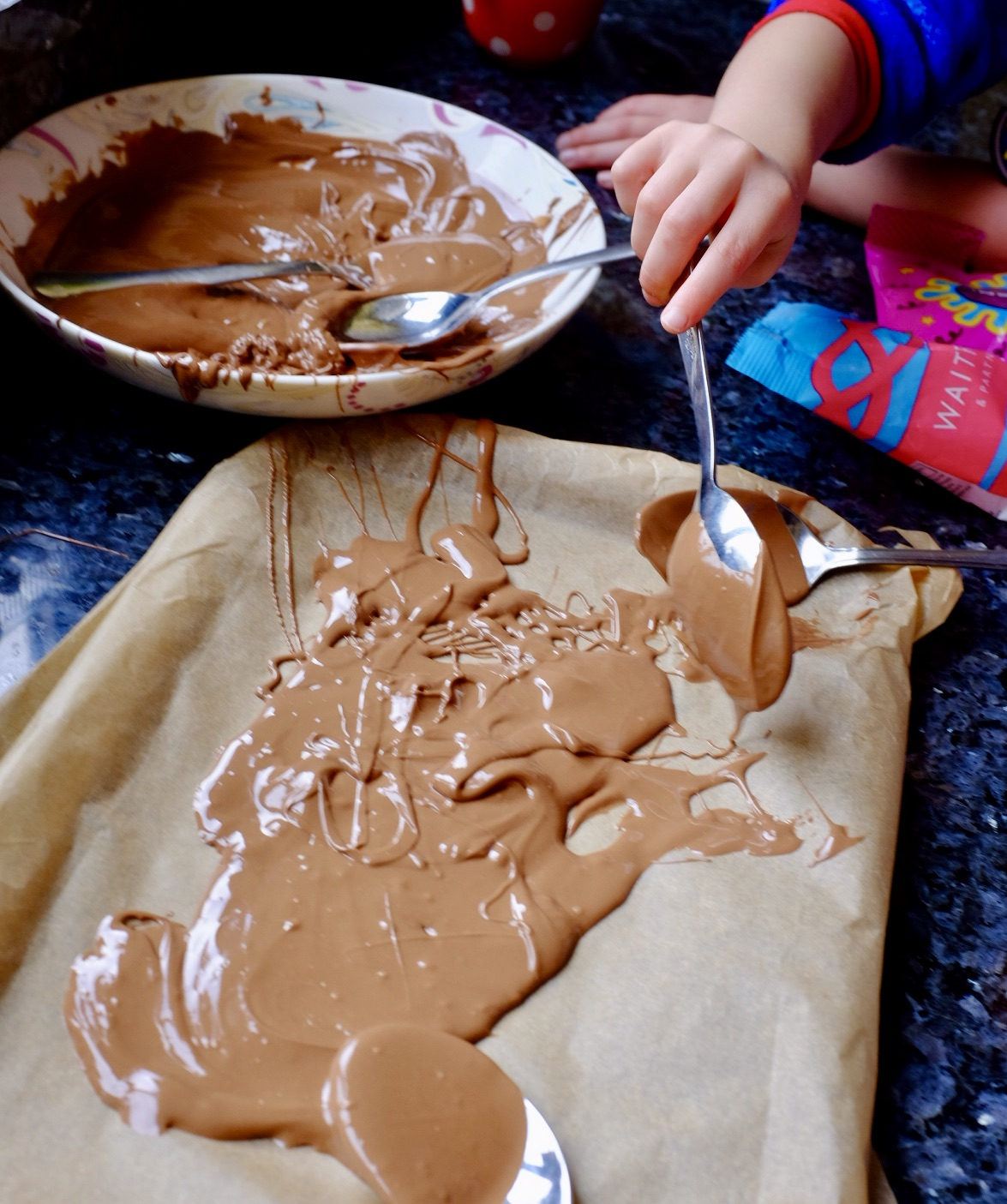Making Halloween Chocolate Bark