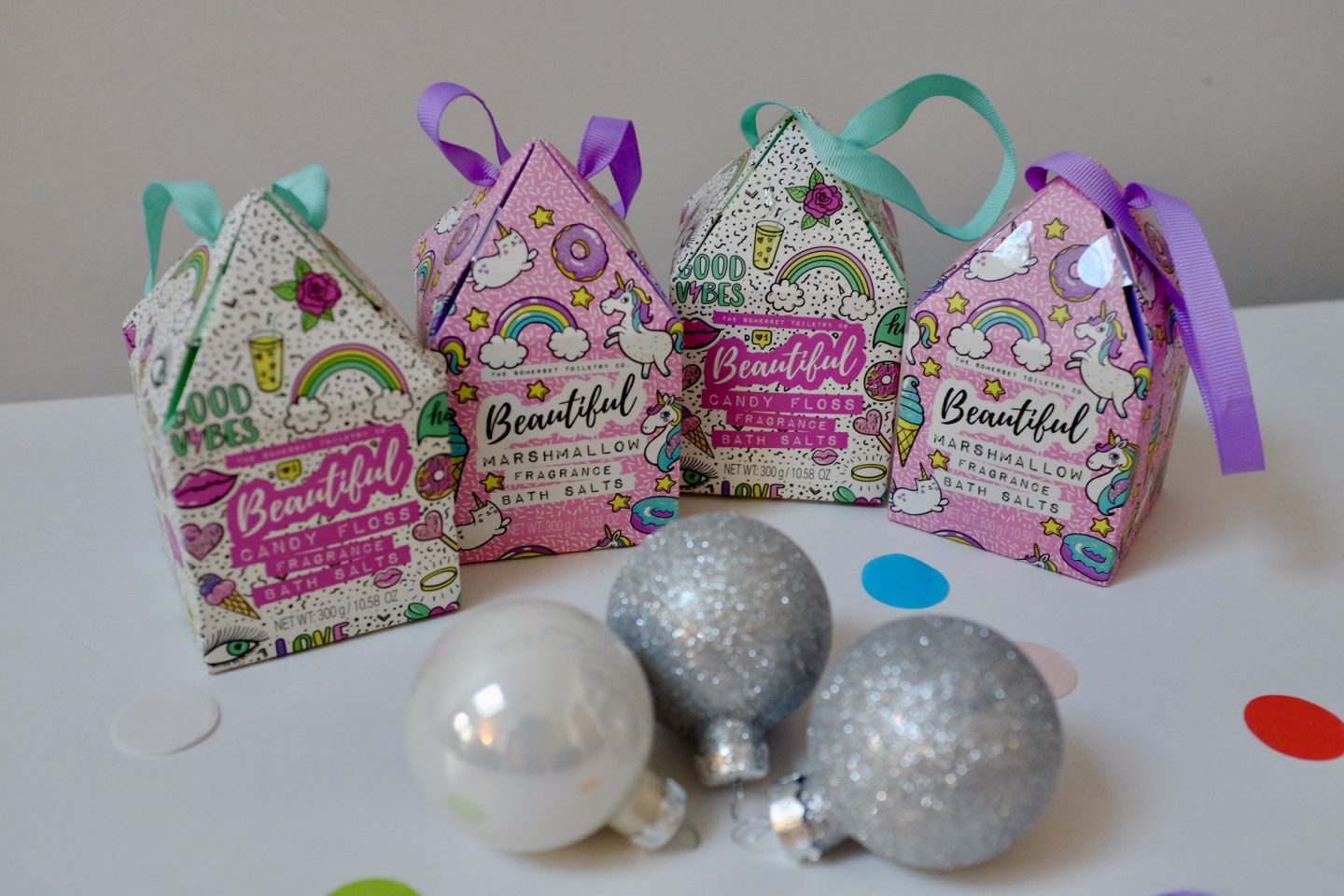 Bath salts -candy floss and marshmallow rainbow gift ideas