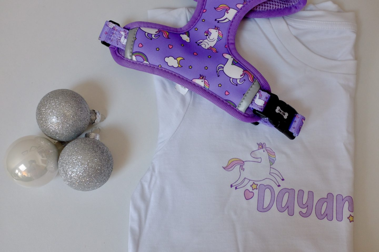 Rainbow and Unicorn Dog Harness and Matching Unicorn Tee from Pup Chic Boutique rainbow gift ideas