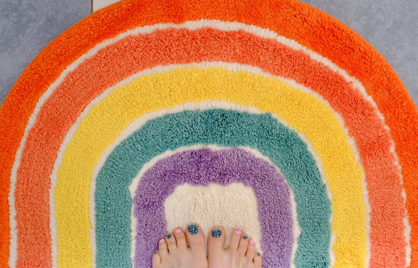 rainbow bath mat from red candy