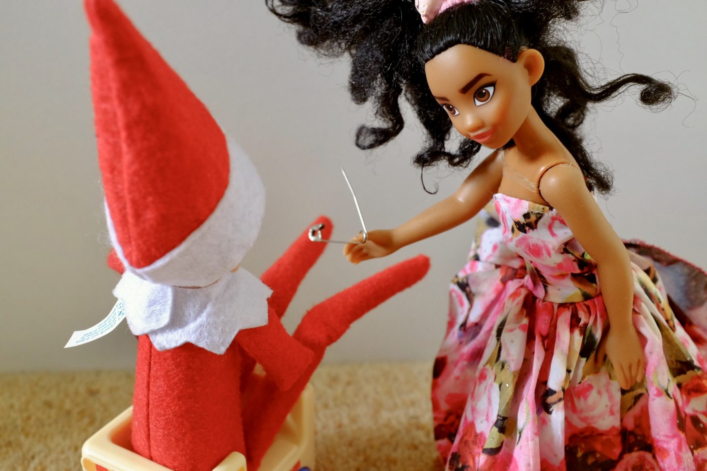 elf gets an extreme piercing by Moana doll - naughty elf ideas