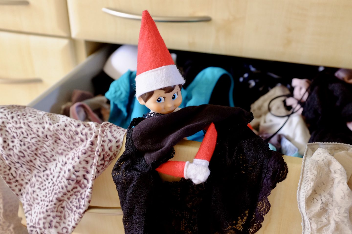 Elf on the shelf in a pant drawer - naughty elf on the shelf ideas