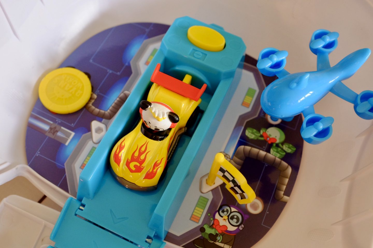 car ready to be launched in the panda head playset
