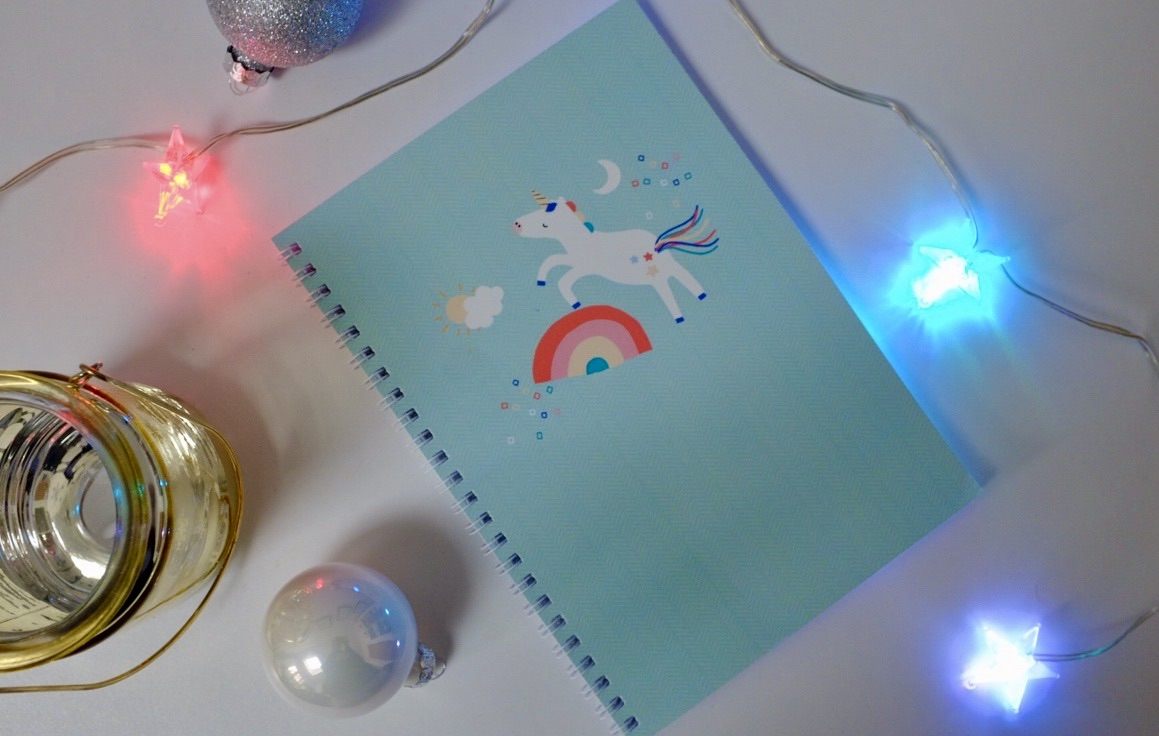 personalised notebook unicorn rainbow