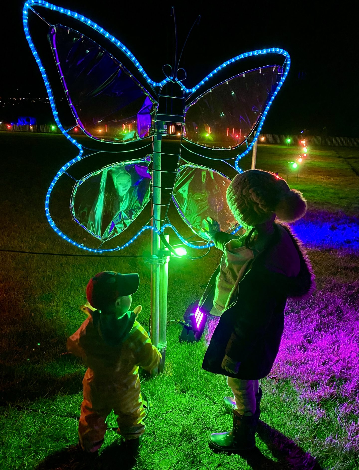 kids in front of butterfly lights at the malvern winter glow