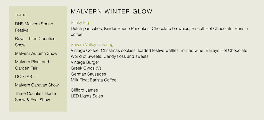 food availability at the Malvern Winter Glow