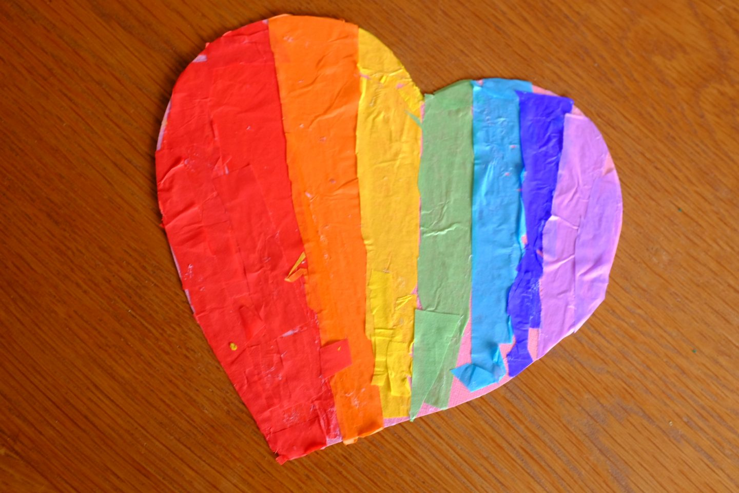 tissue paper rainbow heart
