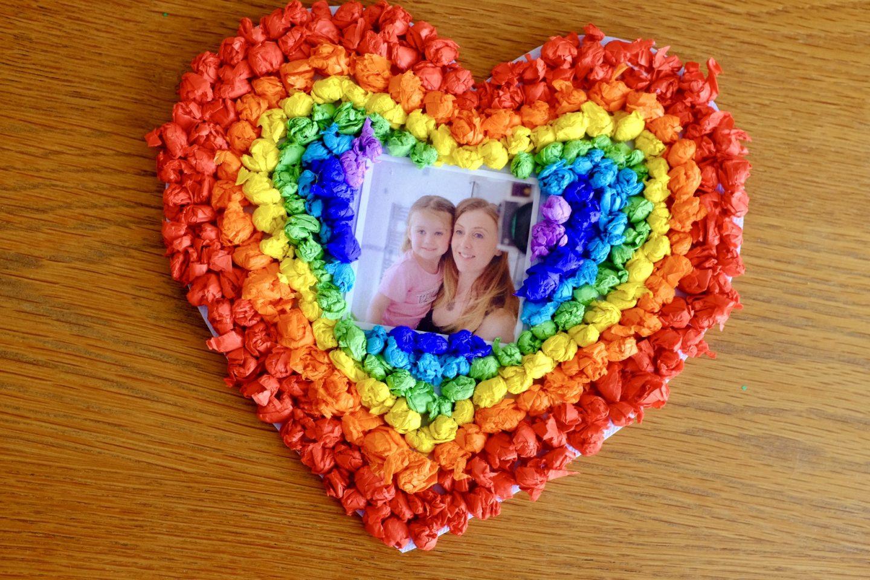 rainbow tissue paper valentine's Hearts