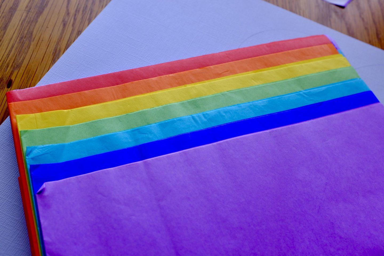 rainbow coloured tissue paper