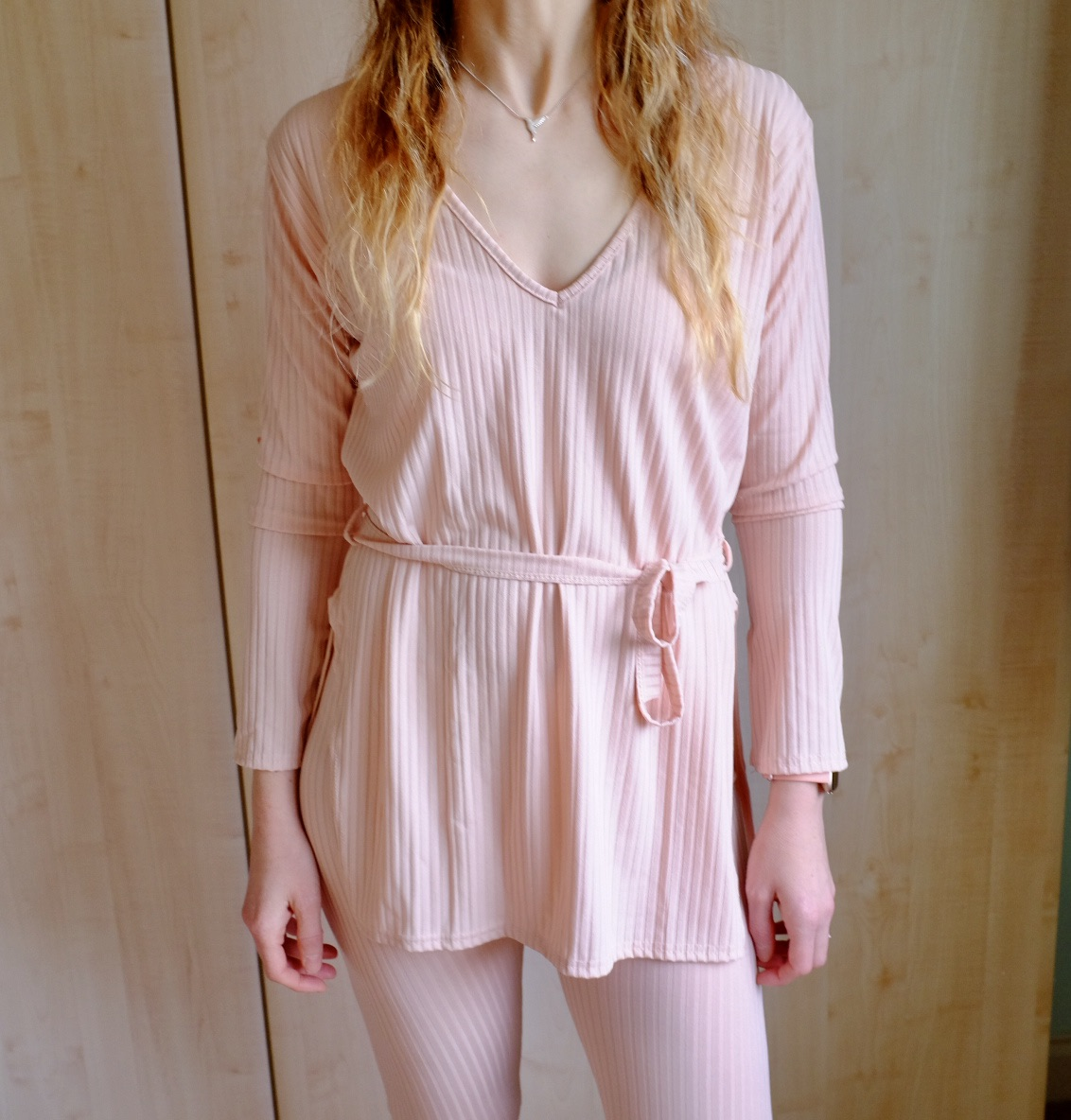 pink belted ribbed loungewear