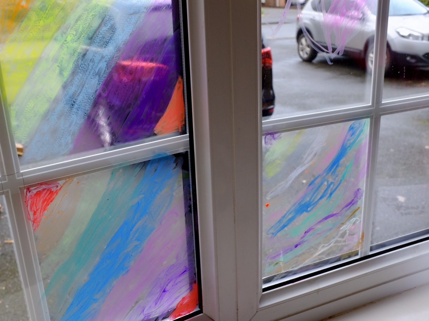 window painting with Little Brian Paint Sticks