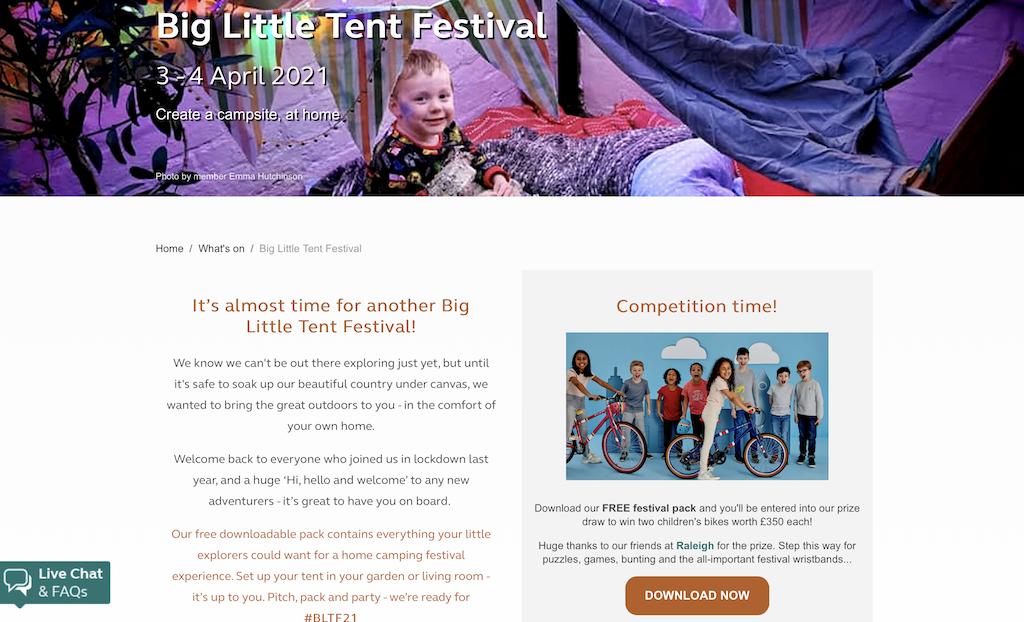 The Big Little Tent Festival webpage