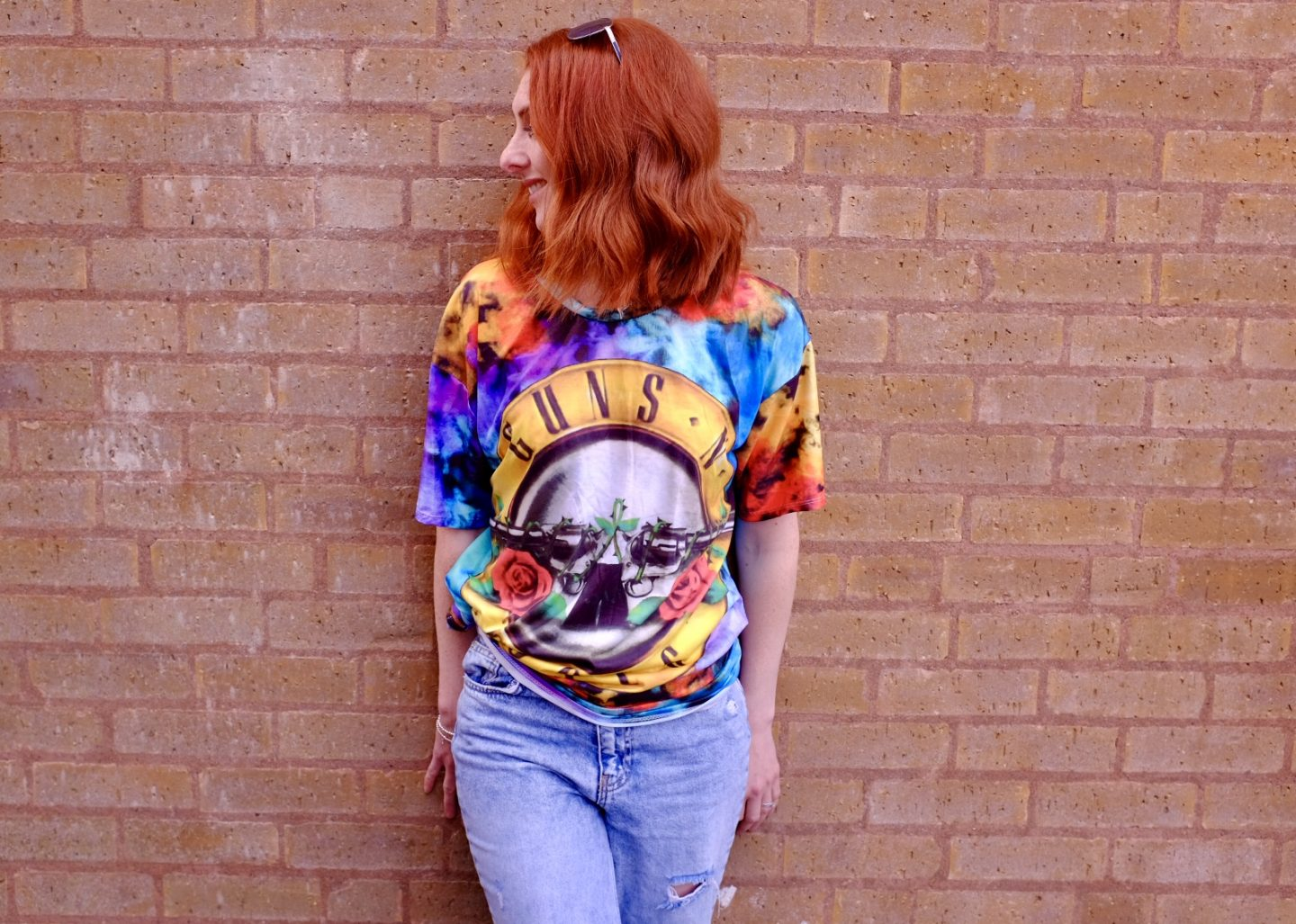 Girl in Guns and Roses Tee