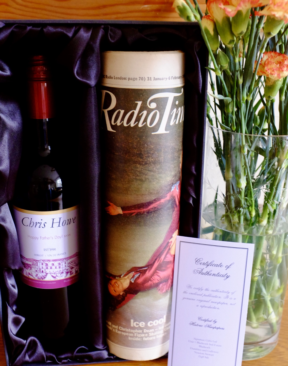 Newspaper gift set - radio times and red wine