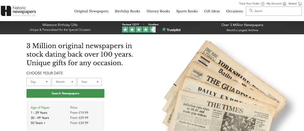 historical newspapers homepage