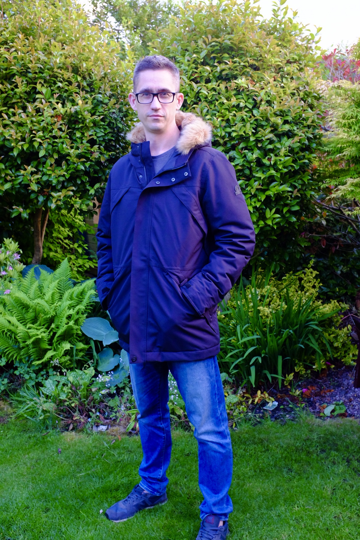man wearing a Thornton Mens Waterproof Downfill Parka from TOG 24