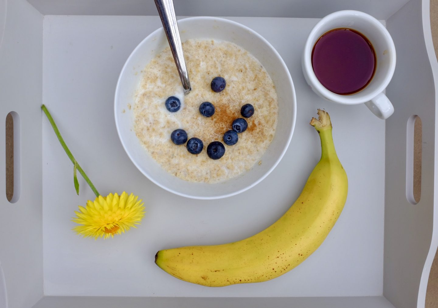 breakfast flat lay with porridge containing BC30 cultures