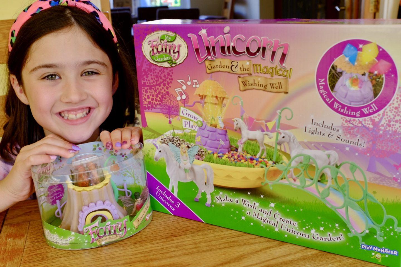 girl with my fairy garden unicorn garden